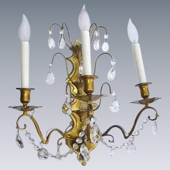 French Dore Bronze Crystal Prisms Wall Sconce Girandole Light