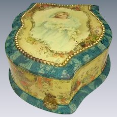 Antique Victorian Young Girl Celluloid Dresser Box Vanity Box
