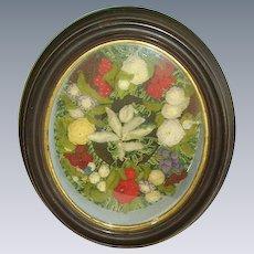 Antique Victorian Stumpwork Woolwork Florals Deep Shadowbox Frame Diorama