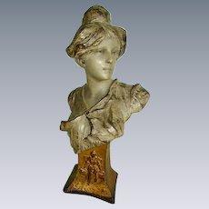 Antique Art Nouveau Victorian Lady Bust Sculpture