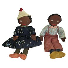 Early Black Americana Cloth Dolls Pair/Painted Faces Black Folk Art