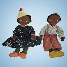 Early Black Americana Cloth Dolls Pair/Painted Faces Black Folk Art