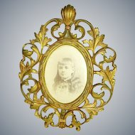 Ornate Victorian Brass Metal Picture Frame