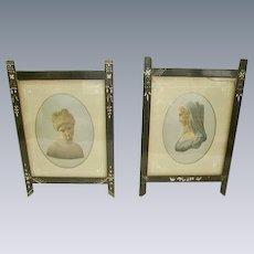 Antique Victorian Eastlake Black Carved Picture Frames Pair