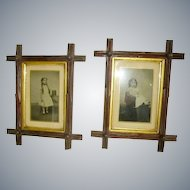 Victorian Criss Cross Walnut Frames Pair with Victorian Children Photos
