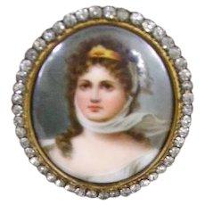 Antique Miniature Portrait/24Kt Gold Plated/Paste Stones Frame