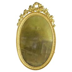 French Dore Bronze Ormolu Oval Picture Frame 1800's
