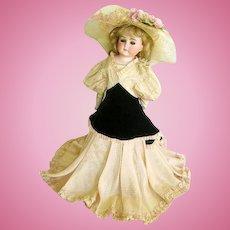 Vintage Elegant Doll Gown Dress Silk Taffeta/Velvet Bustle for German/French Dolls