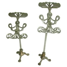 Fabulous Pair Antique Victorian Ornate Metal Shoe Display Stands /Early Mercantile Store Stands