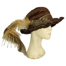 Fabulous Victorian Velvet French Passementerie/Plume Ladies Hat