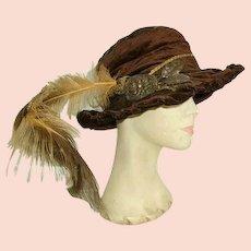 Fabulous Victorian Velvet French Passementerie/Plume Ladies Hat
