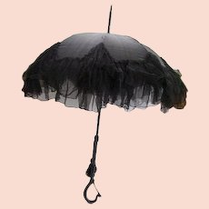 Antique Victorian Black Mourning Parasol/Umbrella/Gutta Percha Handle/1800's