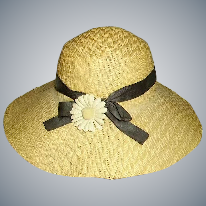4ad3766d1012 Old Doll Wide Brimmed Straw Hat with Daisy/Old Store Stock Price Tag :  Huntwood Antiques | Ruby Lane