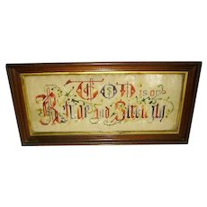 Antique Victorian Punch Paper Sampler Religious Motto in Antique Frame