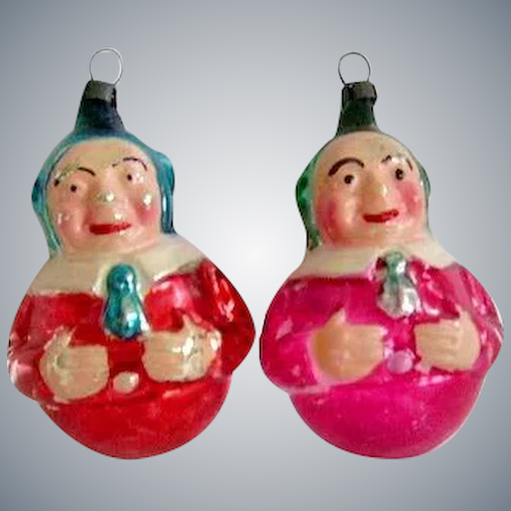Early Vintage Elf Jester Roly Poly Mercury Glass Christmas Ornaments 2