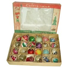 Antique Vintage 1920's German Feather Tree Glass Ornaments Box of 24