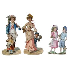 "Victorian Embossed Die-Cut Scraps/Victorian Lady, Gentleman,Children 1800's/ 8""Tall"