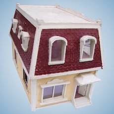 Antique French Mansard Roof Doll House/ Early Two Story Dollhouse