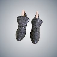 Fabulous Victorian Beaded Mourning Shoes Hand Stitched 1800's Beaded Ladies Shoes Pair