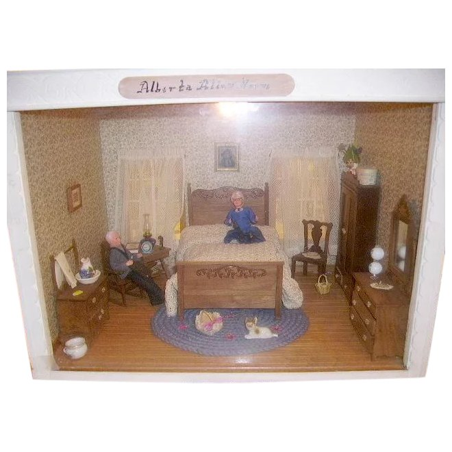 Miniature Children S Bedroom Room Box Diorama: Vintage Doll Room Box Miniature Dollhouse Diorama