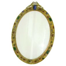 Gorgeous Early 1900's Large Oval Jeweled Bowtop Bronze/Brass Picture Frame/Easel Stand