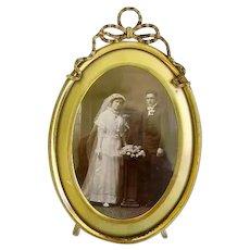Antique 1900 French Brass Bow Top Picture Frame/John Wanamaker Paris/Wedding Couple Portrait