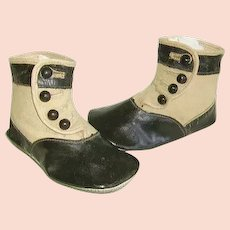 Victorian Childs Two Tone Button Up High Top Shoes