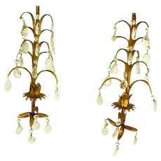 Vintage Italian Tole Gilt Prisms Wall Sconces Pair/Hollywood Regency