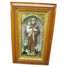 Antique Early 1900 Religious Shadowbox Saint Anthony and Child Icon