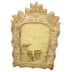 Early Dated 1862 Small Stamped Brass Picture Frame/Dean's Worcester, Mass