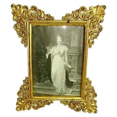 Gorgeous French Ormolu Picture Frame with Wire Easel Stand/Late 1800's