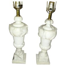 Vintage Pair of Carved Italian Alabaster Marble Table Lamps