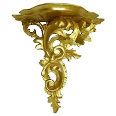 Vintage Gold Gilt Scrollwork Wood Wall Sconce Shelf/ Rococo Style Sconce Shelf