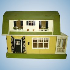 Antique Gottschalk Dollhouse Dutch Colonial with Side Porch