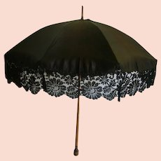 Antique Victorian Mourning Parasol Silk and Lace/Ladies Victorian Parasol Umbrella/Victorian Mourning