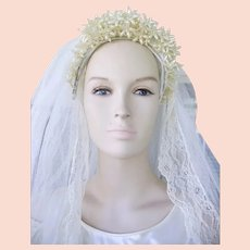 Gorgeous 1920's Wax  Flowers Tiara French Net Lace Wedding Veil Chapel Length 100""