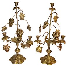 Antique French Brass Altar Candelabra Grapes Wheat Shaft Candelabra