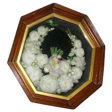 Antique Victorian Stumpwork Mourning Wreath in Huge Octagon Shadowbox Frame White Dove