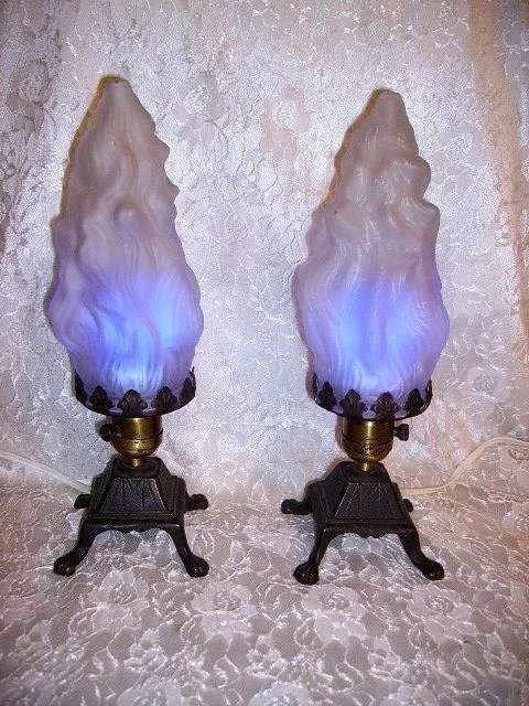 Art Deco Flame Shades Lamps Pair Huntwood Antiques