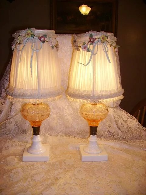 Vintage 1930s Pink Glass Boudoir Lamps Pair French Ribbon Work Shades