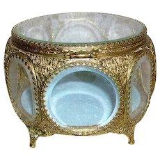 Gorgeous Vintage Ormolu 8 Sided Beveled Glass Jewelry Casket Box