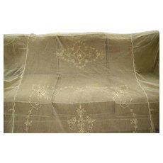RESERVED -Beautiful Vintage French Net Lace Bedspread Tambour Lace