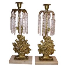 Antique Brass Flower Basket Girandoles with Etched Crystal Prisms