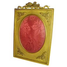 Antique French Bronze Bow Top Convex Glass Picture Frame