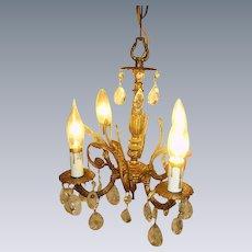 Vintage Petite Spanish Brass Chandelier Light Prisms