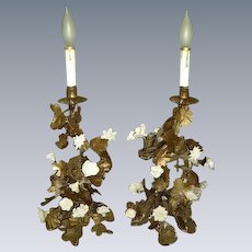 Vintage French Porcelain Roses Tole Leaves Candelabra Lamps Pair