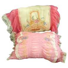 Gorgeous Pair 1930s Pink  Embroidered Boudoir French Net Lace Pillows