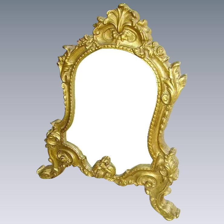 Reserved For T Antique French Gilt Wood Rococo Vanity Tabletop Mirror Huntwood Antiques Ruby Lane