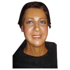 Vintage Realistic Wax Mannequin Head Bust of Lady