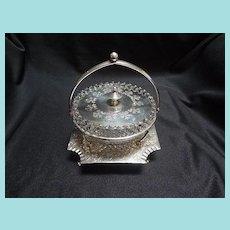 English Silverplated and glass dish